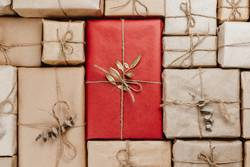 Various gift boxes wrapped in eco-friendly craft paper
