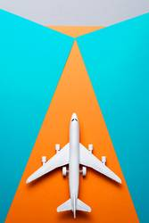 jet airplane travel concept, minimal art, colorful background