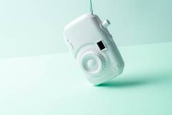 White camera. surrealism abstract concept. soft background