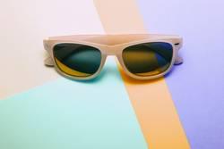 sunglasses on pastel multicolor trendy background