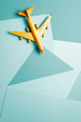 Orange passenger jet airplane, travel minimal idea
