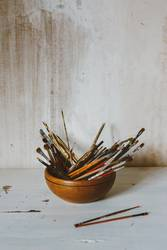 A collection of Artist's brushes. Art Culture Abstract Concept.