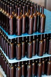 Empty glass bottles at modern winery