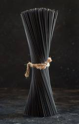 Raw squid ink pasta