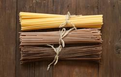 Italian spaghetti on the old wooden table