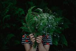 Mädchen hinter Farn und Blumen