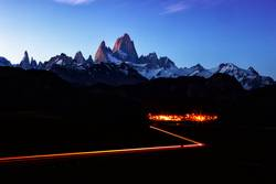 Fitz Roy Mountain and Town Landscape at night