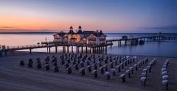 Panoramabild zur Blauen Stunde Seebrücke Sellin, Ostsee, Rügen
