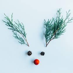 Kreatives Layout aus Weihnachtsschmuck.