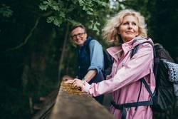 Ältere Paare, die Wanderung im Wald genießen
