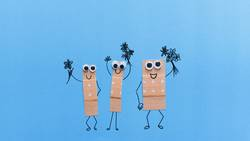 Funny plasters with faces wish good recovery