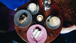 Top view of a table in a café