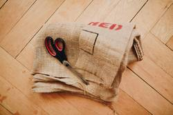 Upcycling - making garments from coffee sack