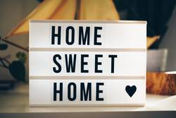 """Lightbox with the words """"home sweet home"""""""