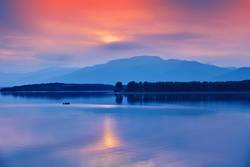 Sunset or Sunrise Landscape.Panorama of Beautiful Nature.Lake.