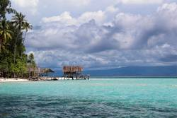 Old wooden platform on stilts in Raja Ampat, Papua, Indonesia.