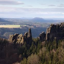 Blick von den Schrammsteinen zum Königstein