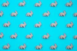 Creative and minimal pattern made of rabbits.