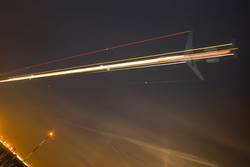 Airplane in sky at night