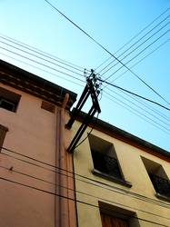 house with electric wires
