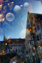 Christmas decorations through scratched window