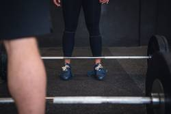 Close up weight lifting exercise