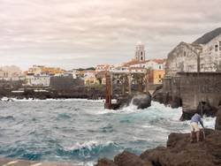 View of the city of Garachico on Tenerife in the gray sky