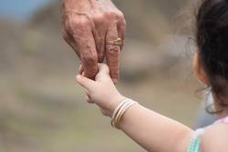 Close-up shot of a child's hand holding finger of his father