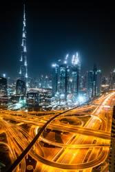 Dubai skyline and motorway