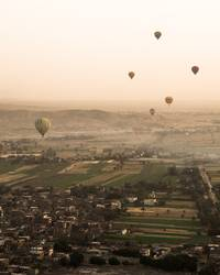 Hot air balloon ride for sunrise in Luxor (Egypt)
