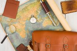 geographic map, passport, bag, magnifying glass, purse, spyglass