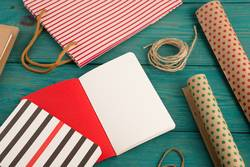 shopping bag, packing paper with polka dots, notepads