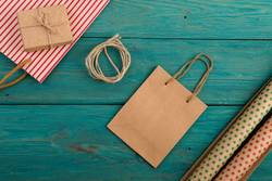 shopping bag, gift bags, packing paper with polka dots