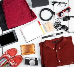notepad, tablet pc, clothes, headphones, camera, shoes, watch